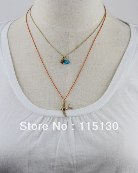 Lovely Bird Pendant Long Chain Necklace Rose Gold Plated Chian With Bird Charm Necklace Women Fashion Jewelry Wholesale(China (Mainland))