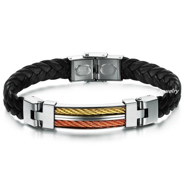 2014 wholesale free shipping new rock men's bracelets&bangles Weaved leather bracelets 316L stainless steel Strands&bangles gift(China (Mainland))