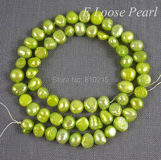 Wedding Party Gift Pearl Jewelry Corn Pearl Freshwater Pearl Potato Loose Beads Light Green Yellow 5-6mm 15 Inches Full Strand(China (Mainland))