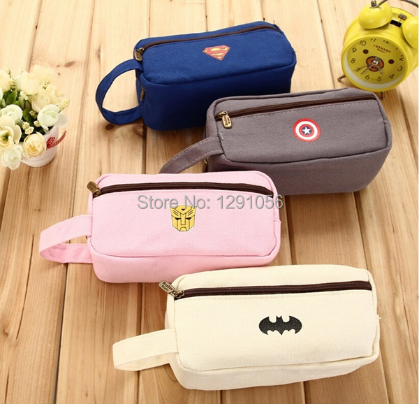 1pc Simple Office & School Supplies Stationery Fresh Pencil-case Cute Pencil Bags Large Capacity Pouch Purse Canvas Cosmetic Bag(China (Mainland))