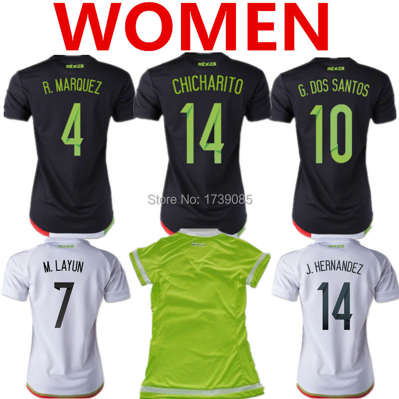 Soccer Jerseys Mexico Women 2015 Mexico Women Jersey 15 16 Lady CHICHARITO Female Girls Mexico Black Home Away White Shirt 15/16(China (Mainland))