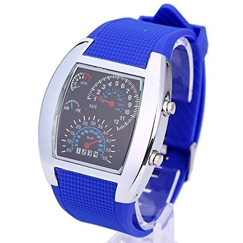 Digital Led Watches Cool Car Meter Dial Unisex Blue Flash Dot Matrix LED Racing Watch With Gift Box(China (Mainland))
