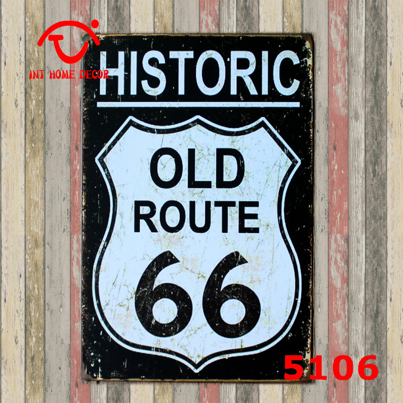 historic old route 66 tin signs wholesale vintage decor vintage shabby chic metal plaque 20x30cm. Black Bedroom Furniture Sets. Home Design Ideas