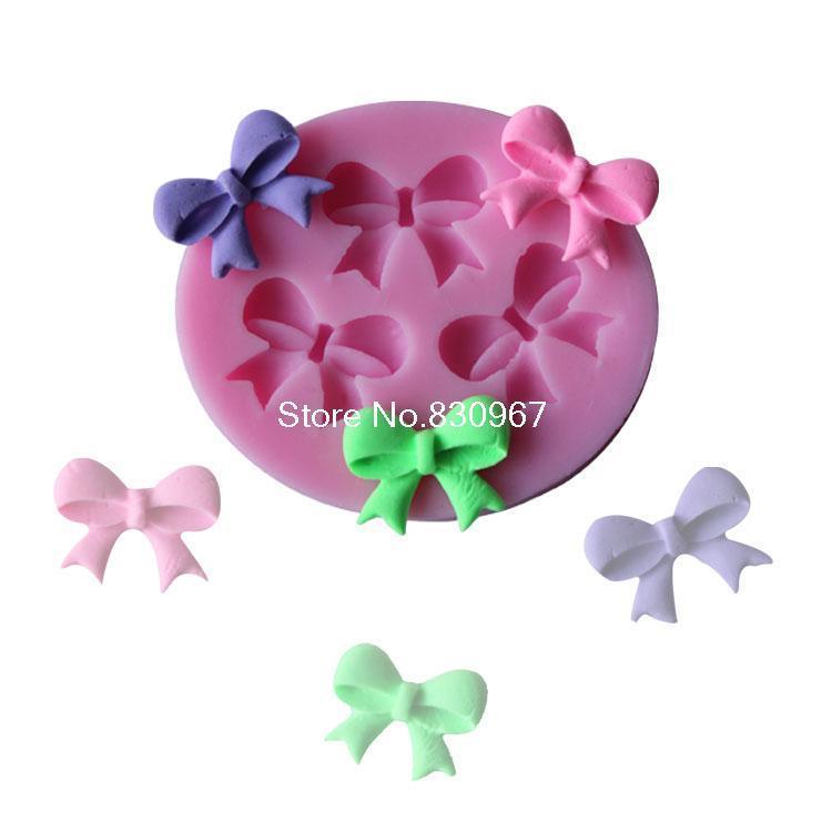 1pcs three Bows Chocolate Candy Jello silicon Mold cake tools Bakeware sugarcraft cake decorating tools(Free shipping)(China (Mainland))