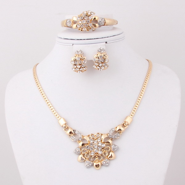 New Fashion Arrivals Wedding Jewelry Awesome Design: 2015 New Design Unique Fashion Flower Crystal 18k Gold