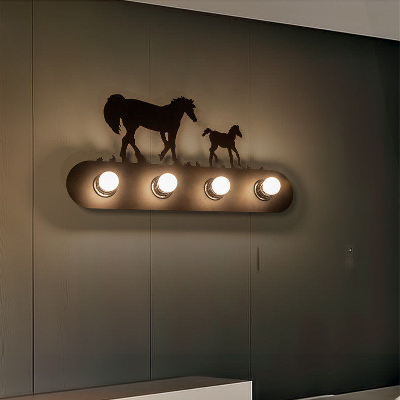 Brief Vintage american rustic horse wall lamp indoor use porch light 220V 4pcs E27 Lamp Base <br><br>Aliexpress