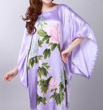 Горячая распродажа летние китайское традиционное женщин ночная рубашка шелк район банный халат кимоно юката платье Большой размер S0110
