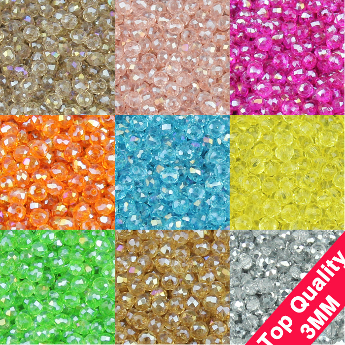 High quality 3mm 200pcs AAA Round Shape Upscale Austrian crystals beads loose rondelles glass ball supply bracelet Jewelry DIY()