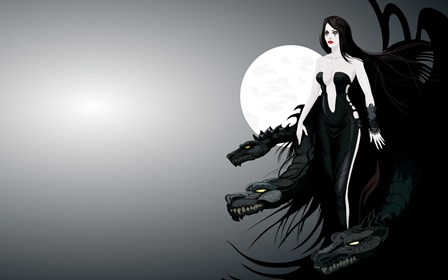 abstract character dragons girl fantasy moonlight dark gothic Home Decoration Canvas Poster