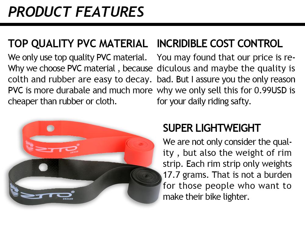1 Pair ZTTO Premium PVC Rim Belts Strips  for 20 24 26 27.5 29 Inch 650B 700c MTB Mountain Bike Road Bicycle Folding Bicycle (1)