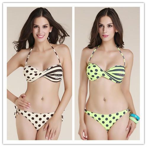 2015 Hot Sale European Summer Style Retro Dots and Stripes Sexy Bikinis Swimsuit Elastic Padded Steel Care Swimwear Bathing suit(China (Mainland))
