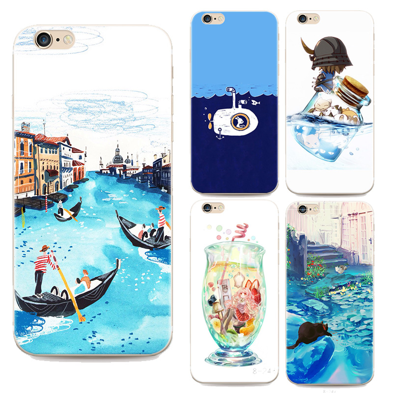 2016 New Top For Apple iphone 6 6s Fashion cartoon sea case Drift bottles blue sea For iphone 6 cases 4.7 inch TPU Soft shell(China (Mainland))