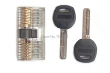 Transparente Cutaway bloqueo Bicentric cilindro para práctica para Picking habilidades con dos claves
