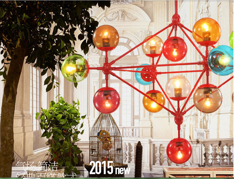 Coffee Shop 15/21 Pcs Chinese Modern Glass Pendant Lighting Fixtures Hotel Colorful Hanging Glass ball pendant Lamp Led Lustres(China (Mainland))