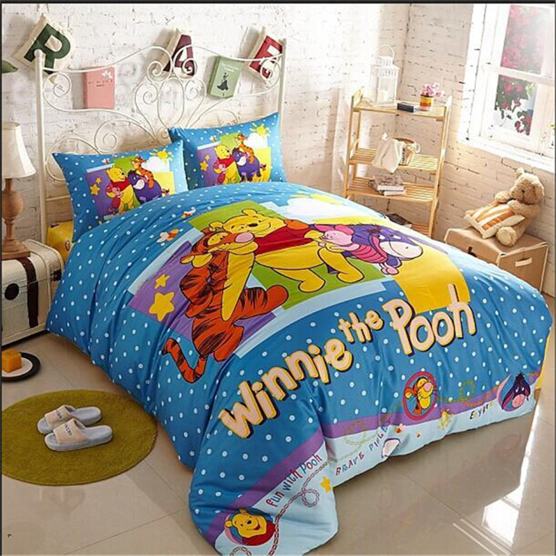 Cozy Blue Winnie Pooh And His Friends Bedding Dot Baby Comforter Set Bedding Sets Wholesale(China (Mainland))