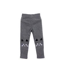 Fashion 2-7Y Baby Girl Kid Cute Cat Print Pants Warm Stretch Leggings Trousers(China (Mainland))