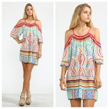 2016 venta caliente Vintage mujeres mexicano étnico bordado Pessant Hippie blusa hombro Gypsy Boho Mini vestido(China (Mainland))