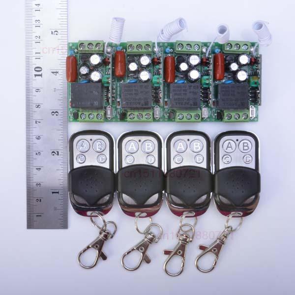 Гаджет  220V 1CH Wireless Power Switch System 4 Receiver&4Transmitter Remote Controller 10A output state is adjusted  None Электротехническое оборудование и материалы