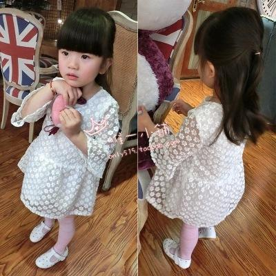 girl dress 2015 girls party princess dress 3t-7T age cotton casual lace girls dress spring Autumn baby girl dresses kids clothes(China (Mainland))