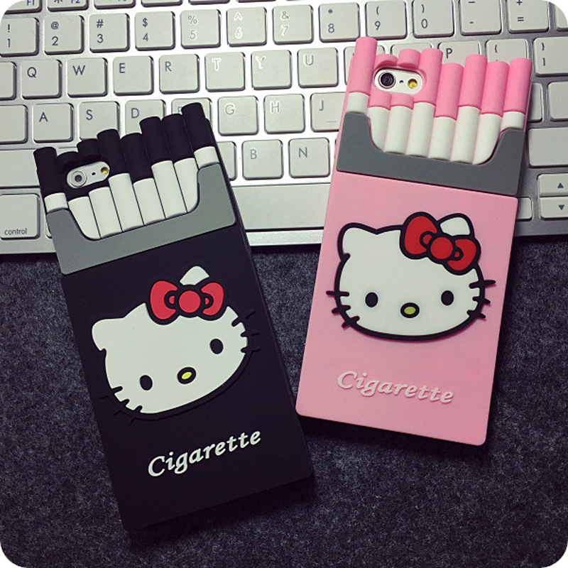 SC80 Lovely Cat Cigarette Silicone Phone Cases Covers For iPhone 5 5s 6 6s Plus SE Mobile Phone Protective Back Shell Housing(China (Mainland))