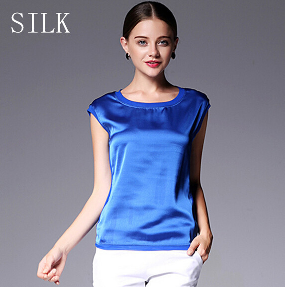 Summer women t shirt Chinese silk 2015 tops tees women clothing chiffon o-neck fashion women's T-shirts for short sleeve 048(China (Mainland))