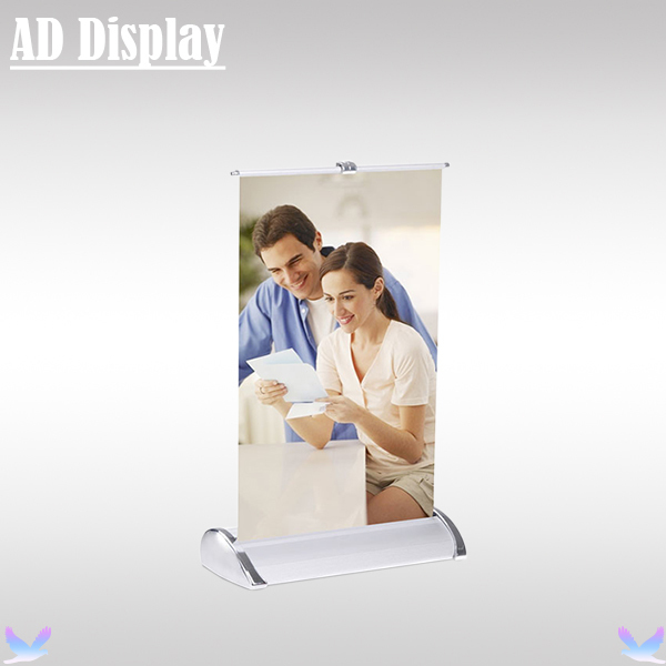 Wholesale 50PCS A4 Size Mini Desktop Aluminum Single Side Roll Up Banner Display Stand,Popular Advertising Equipment(China (Mainland))