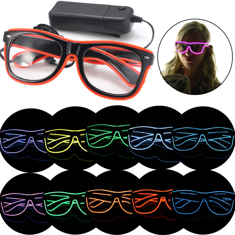 Hot Sale New Stylish El Wire Neon LED Light Up Shutter Shaped Glasses For Christmas Haloween Party(China (Mainland))
