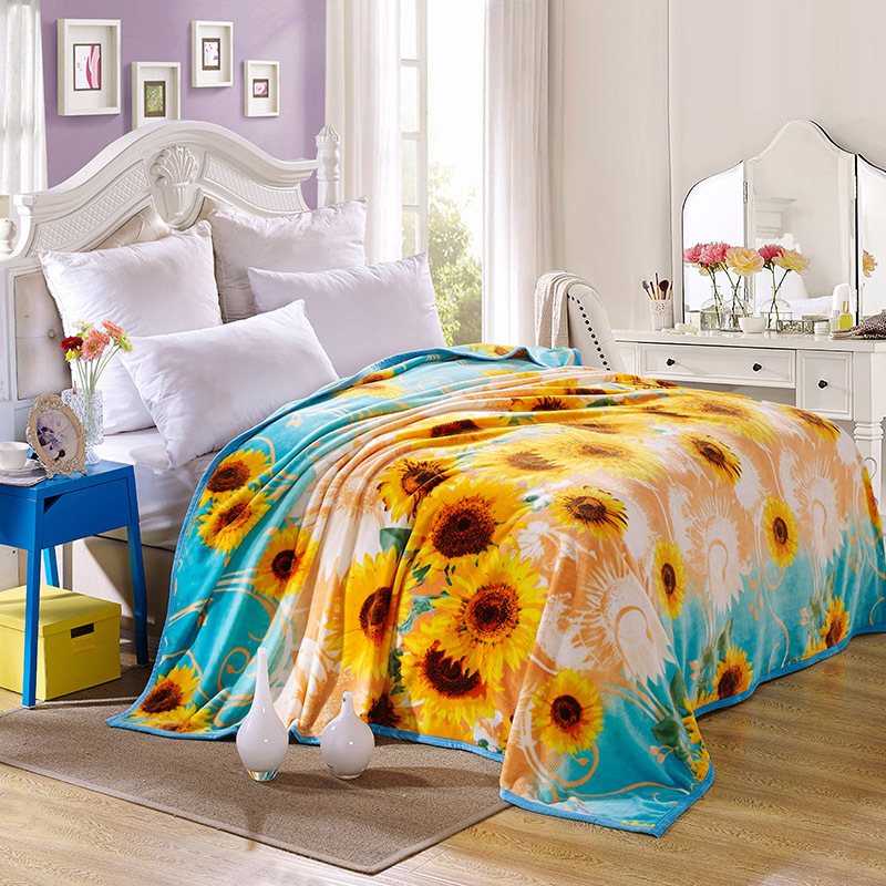 Coral Fleece Blanket Sunflower Pattern for Gifts on Bed Plane Sofa Cobertores, Super Soft Floral Printed Pastoral Adult Blankets(China (Mainland))