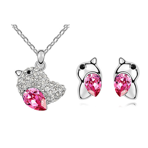 New Vintage Austrian Crystal Love Bird Necklace Earrings Jewelry Sets Crystals from Swarovski Women Wedding Accessories(China (Mainland))