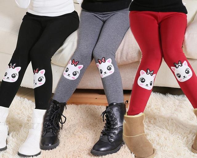 Девушка меха брюки прекрасные кошка модальный детей девочек вилли брюки дети младенца согреться