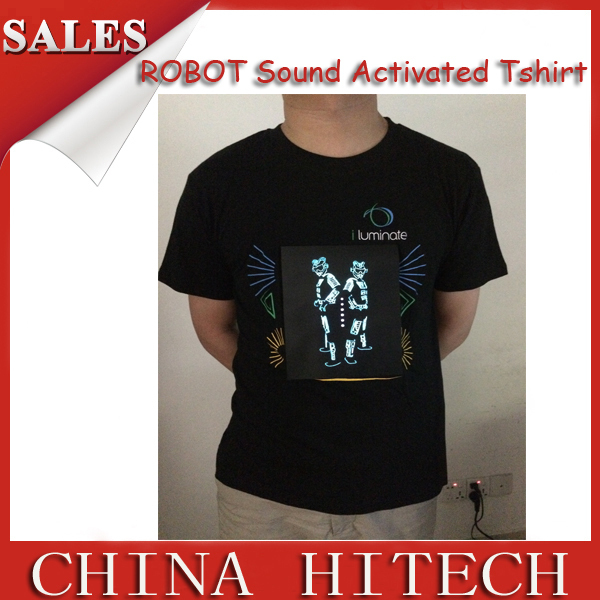 2015 New Arrival Light up Men's EL Panel Sound Activated Robot Mock up Flashing T Shirt Light Up Down Music Party LED TShirt(China (Mainland))