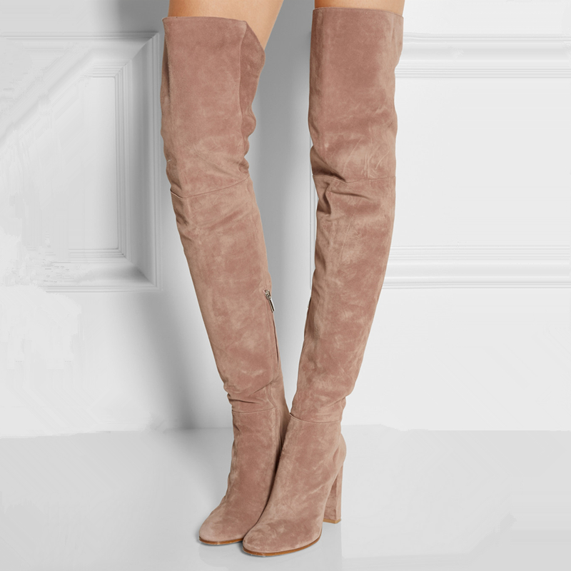 suede the knee boots pink light 2016 new thigh