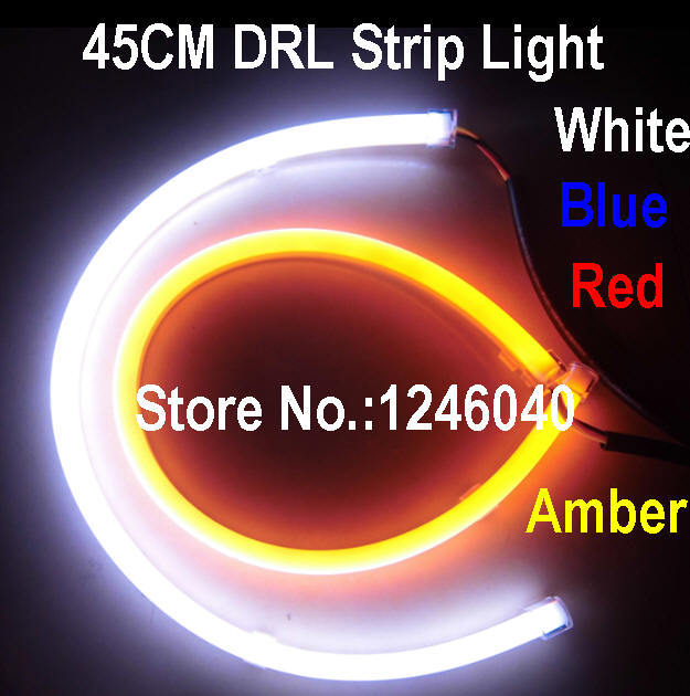 45cm long Flexible LED DRL Strip light universal fit for headlights white blue amber red 4colors high brightness long lifetime(China (Mainland))