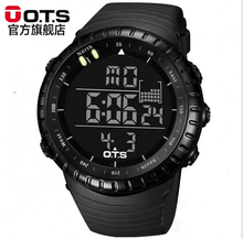 Brand OTS Man Sports Watches Cool Black Waterproof Fashion Large Face LED Digital Swimming Climbing Outdoor New(China (Mainland))