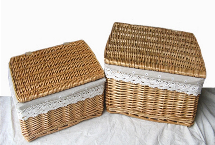 28602 100% Manual made Natural Wicker Box set Antique style with Lid&cotton inner cover home decorative Inomata 2 pcs/set(China (Mainland))