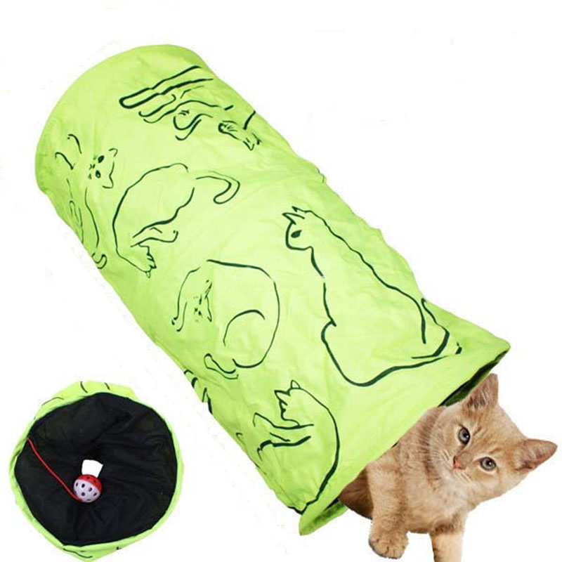 Pet Tunnel Cat Green Printing Lovely Crinkly Kitten Tunnel Toy With Ball Play Fun Toy Tunnel Play Tunnel Bulk Cat Climbing Toys(China (Mainland))