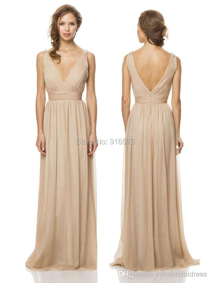 Deep v neck pleated champagne chiffon bridesmaid dresses for Made of honor wedding dress
