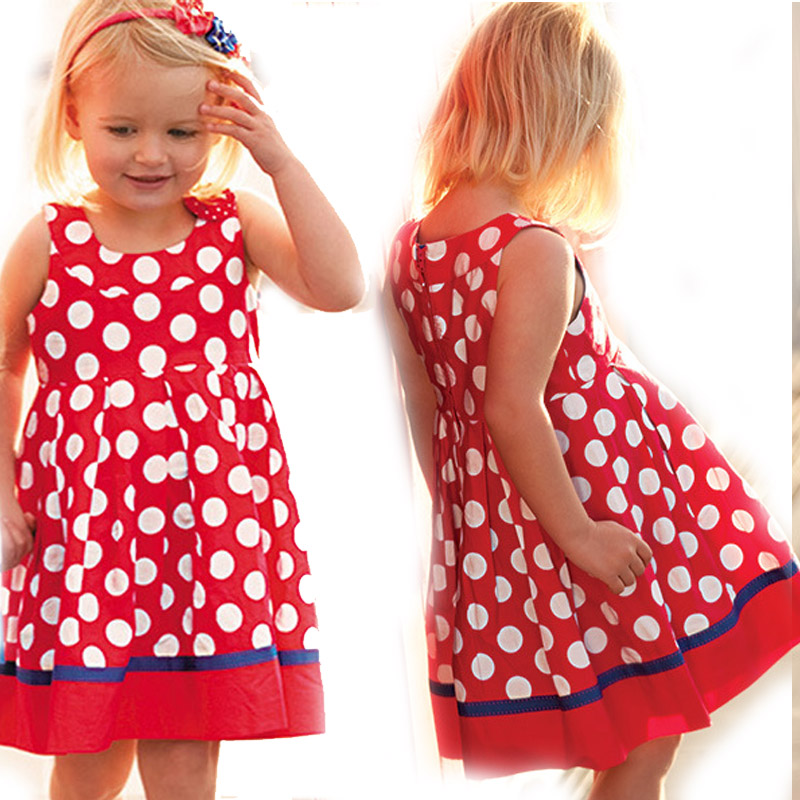 2-7Y Dot Print 100% Cotton Red Little Girls Dresses Ropa de Ninas Fashion Summer Girls Clothes Vetement Fille Infant Clothing(China (Mainland))