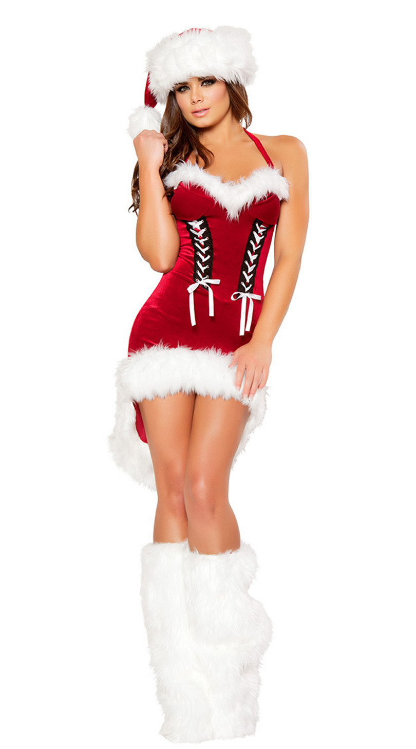 Women Red Swallowtail Sexy Christmas Costumes Strapless Fantasy Cosplay Fancy Dress Holiday Party Mrs Santa Claus Costumes(China (Mainland))
