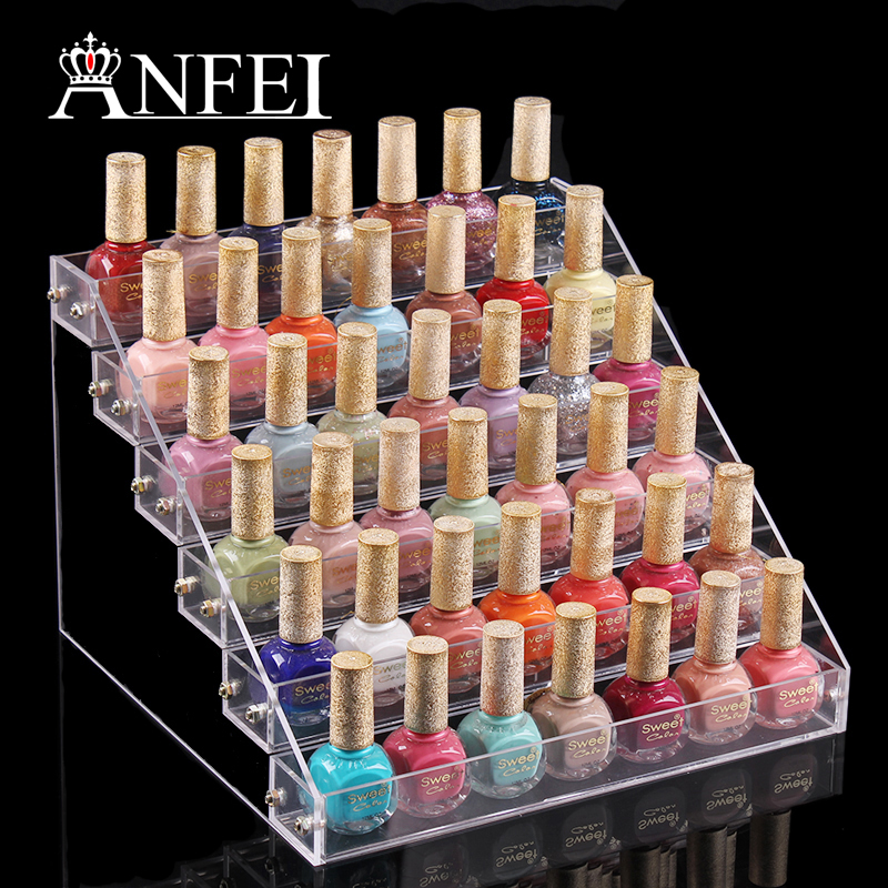 6 Tiers Acrylic Nail Polish Varnish Display Stand Rack Cosmetic Makeup Holder Booking Jewelry Organizer Storage Box(China (Mainland))