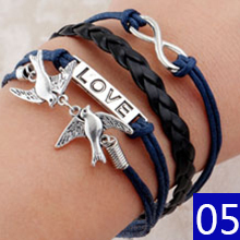 Vintage Braided Anchors Rudder bracelets owl Love best friends Rope charm Bracelets for women heart Leather Bracelet men jewelry(China (Mainland))