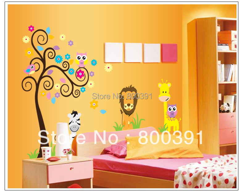 Owl Lion animal Tree Vinyl Wall Stickers home decor kids room Baby children Paper Decals Art vinyl Sticker - EMILYGU KIDS FASHION STORE store