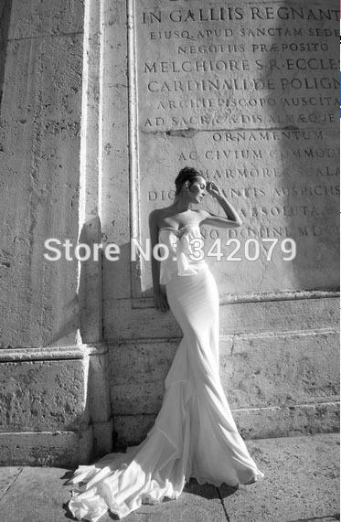 ph091087 custom Made Sexy Sheath/column Sweetheart Chapel Train Lace Chiffon Open Back Wedding Gowns(China (Mainland))