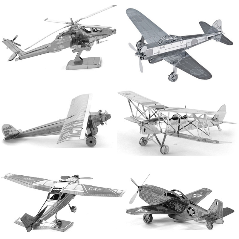 3D Metal Puzzle Early Educational Toys Aircraft Fighter Helicopters Model Jigsaw Puzzle Plane Tangram Kids Toys For Boy/Adult(China (Mainland))