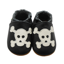 Sayoyo Genuine Leather Baby Moccasins Black Skull Toddler Baby Boy Shoes Newborn Infant Crib Shoes Pre-walker Free Shipping()