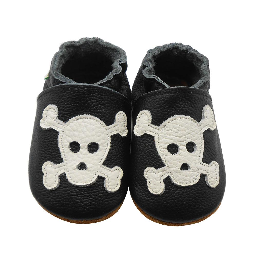 Sayoyo Genuine Leather Baby Moccasins Black Skull Toddler
