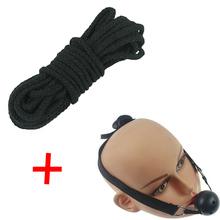 Buy 2pcs/set Women's Roleply Fetish Gag Ball 10m Black Cotton Bondage Restraint Rope Sexy Toys Couples
