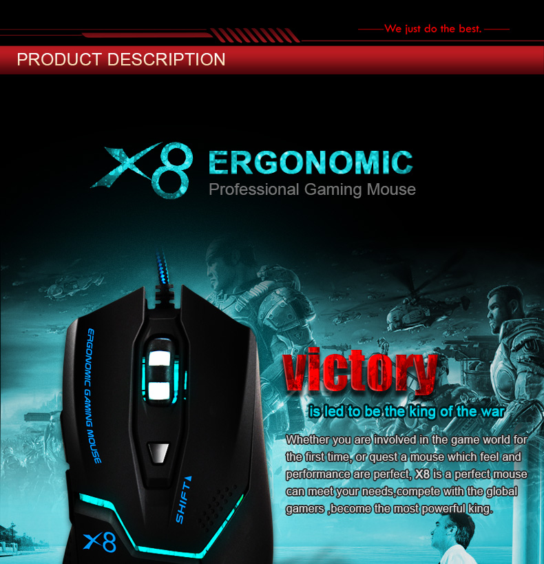 Imice Wired Gaming mouse Professional Game Mouse 3200dpi USB Optical Mouse 6 Buttons Computer Mouse Gamer Mice For PC Laptop X8