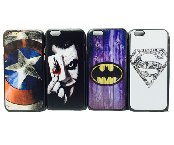 New arrival cute cartoon Superman Batman Captain America clown pattern Cover case for iphone 6 4.7 inch Phone cases(China (Mainland))