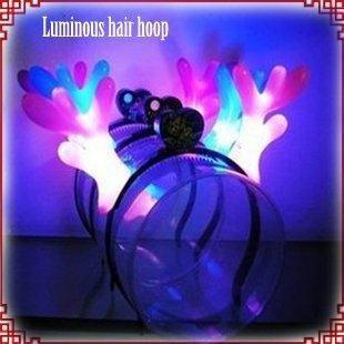 30pcs/lot 19*19cm Large light-emitting horn light-emitting led ox horn hair bands horn lamp flash toys devil hair J0685(China (Mainland))